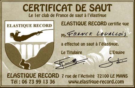 certificat saut elastique